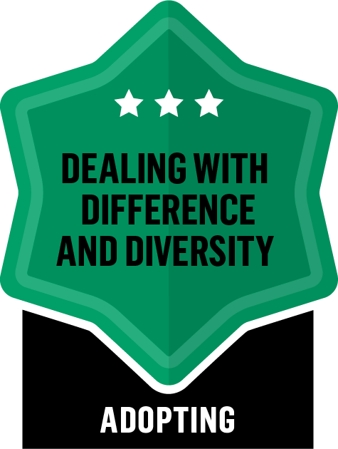 Badge for Dealing with Difference and Diversity - Adopting