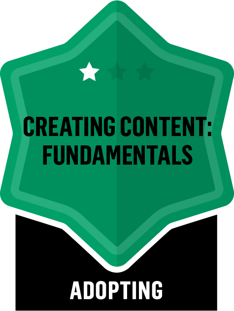 Badge for Creating Content Fundamentals - Adopting