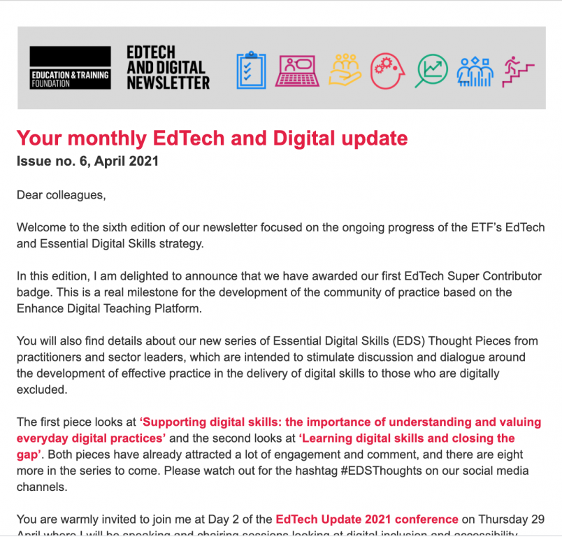 Image of ETF EdTech and Digital Skills Newsletter